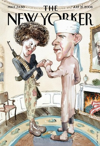 The New Yorker caricature with Barack Obama and Michelle Obama