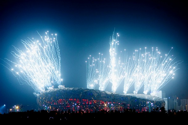 fireworks over the national beijing stadium
