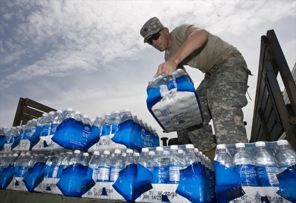 water distribution after hurricane dolly