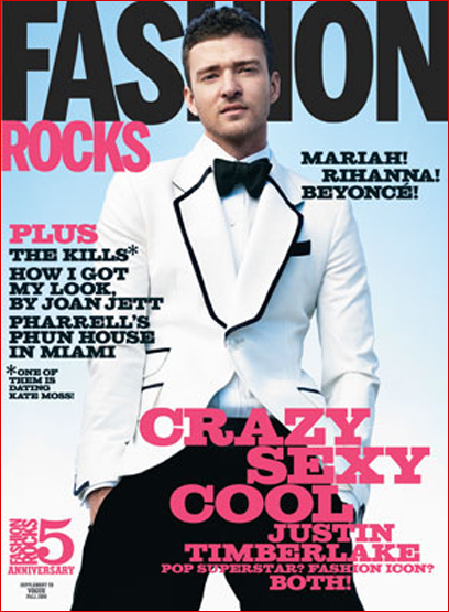 Justin Timberlake on the cover of Fashion Rocks 2008
