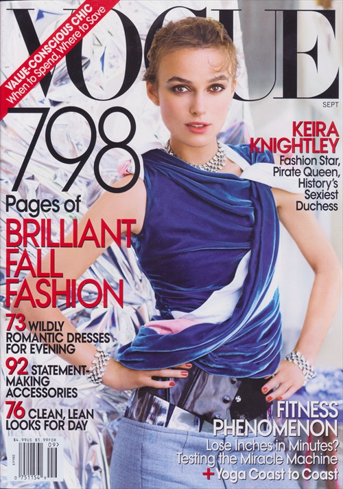 Keira Knightley on the cover of Vogue US September 2008