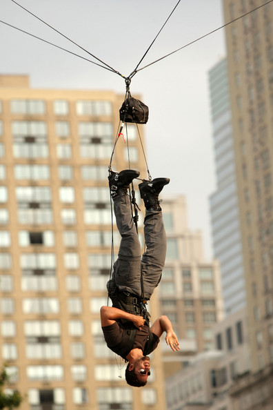 David Blaine hangs upside down at Central Park in New York