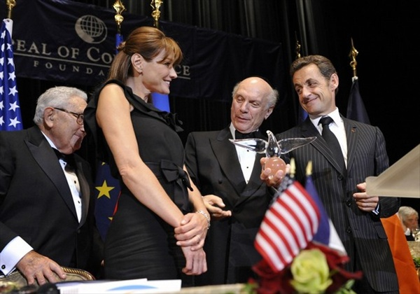 Nicolas Sarkozy and Carla Bruni - World Statesman Award