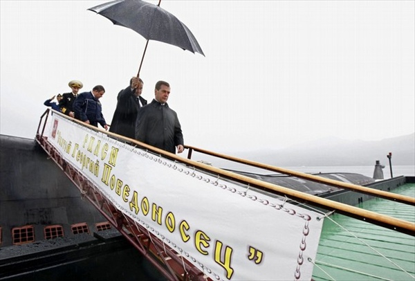 Dmitry Medvedev leaves nuclear submarine St George the Victor at military base in Krasheninnikov Bay