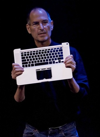 Apple CEO Steve Jobs introduces the new MacBook notebook computer at a press conference in Cupertino
