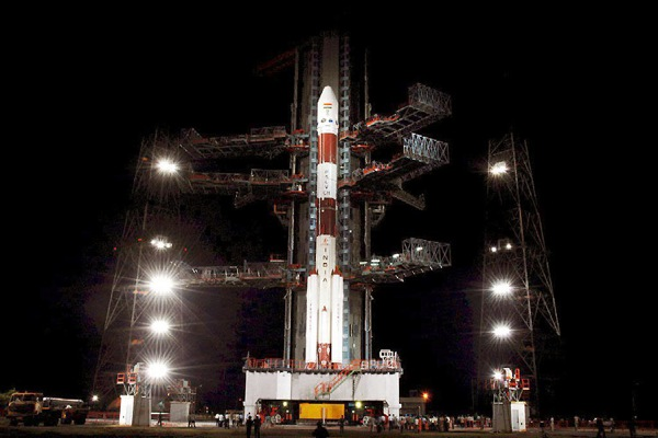India's first lunar probe Chandrayaan-1 at the Satish Dhawan Space Centre