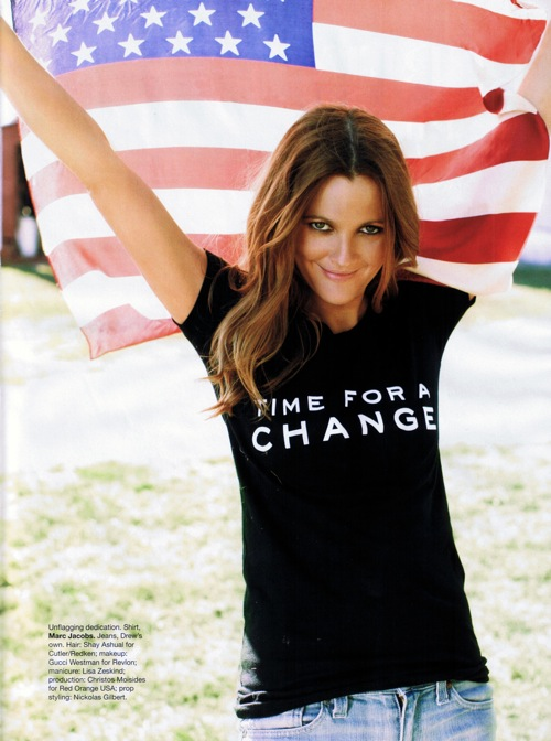 Drew Barrymore wearing Time for a Change T-shirt