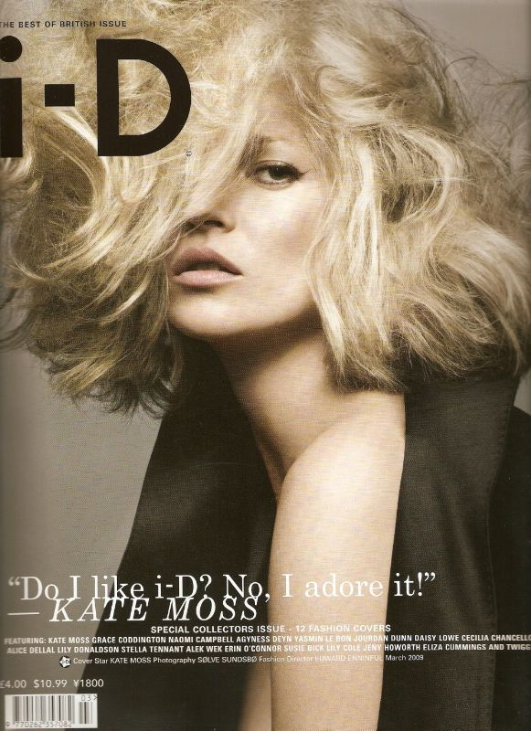 Kate Moss on the cover of i-D Magazine march 2009 Best of British Issue
