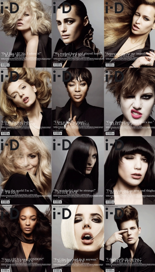 Best of British Issue i-D Magazine March 2009 featuring 12 covers and 12 top models from UK