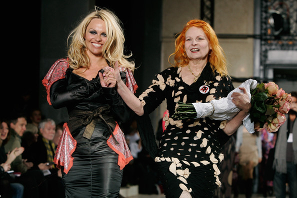Pamela Anderson at Vivienne Westwood Autumn Winter 2009 2010 fashion show at Paris Fashion Week