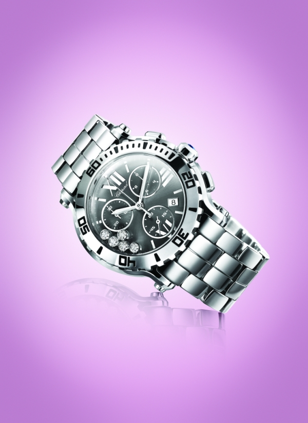 Спортивный хронограф с бриллиантами Chopard Happy Sport Chrono Steel