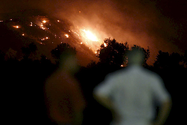 Forest fire burning on island of La Palma, in Canary Islands