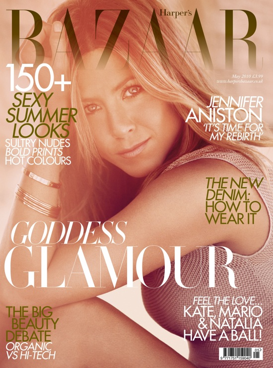 Jenifer Aniston on the cover of Harper's Bazaar May 2010 US edition