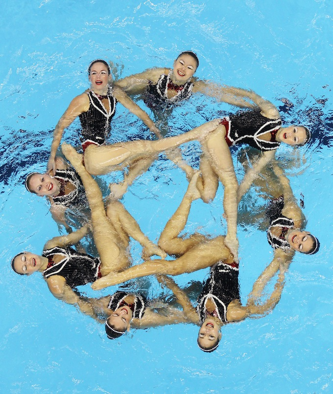 Team Australia competes in the Synchronized Swimming Team Free preliminary.jpg