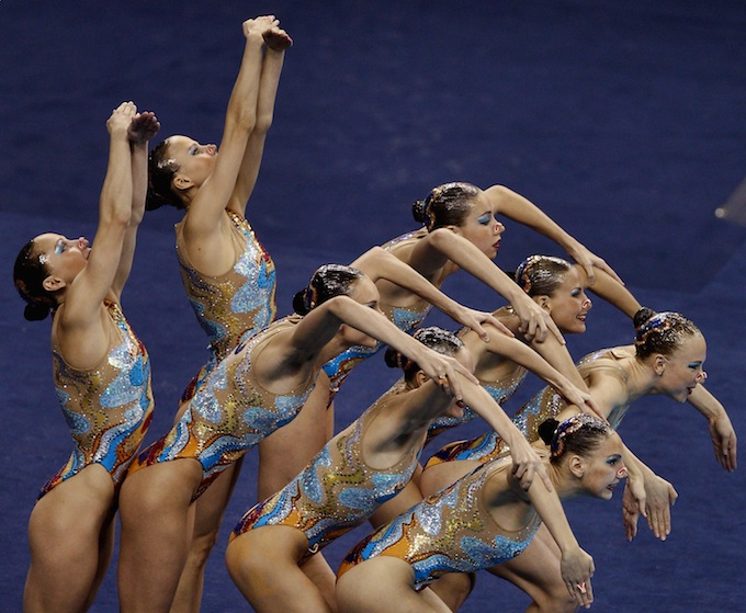 The Russia Federation team compete in the Synchronized Swimming Team.jpg