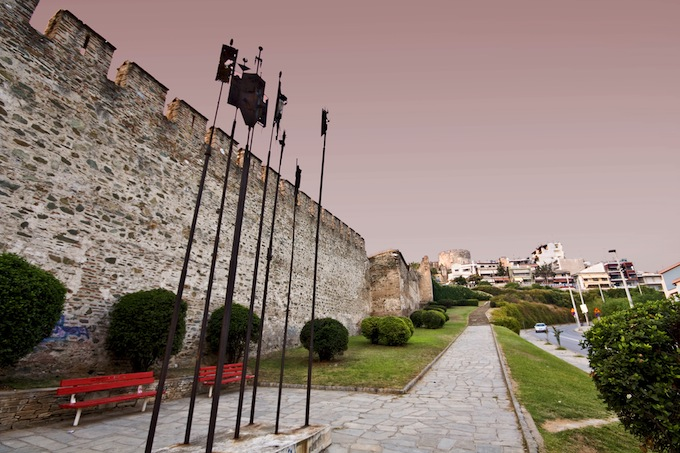 Old byzantine walls at Thessaloniki city in Greece.jpg
