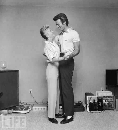 Clint Eastwood with his first wife Maggie, 1965.jpg
