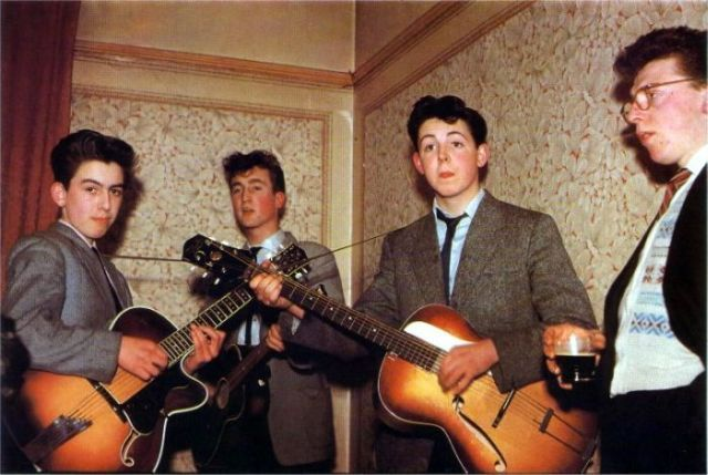 The Beatles in 1957 George Harrison is 14 John Lennon is 16 and Paul McCartney is 15.jpg