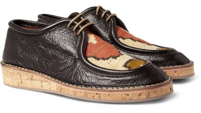 Burberry Prorsum 2012 Spring-Summer Woven Top Cork Sole Leather Shoes 01.jpg