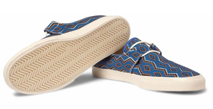 YMC 2012 SpringSummer Blue Cotton Navajo Deck Shoes01.jpg