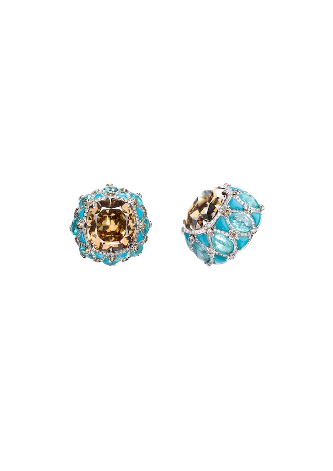 5_champagne diamonds inlaid into turquoise and paraiba earrings.jpg