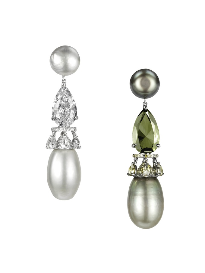 Natural Green and white pearls with agreen chameleon diamond earrings.jpg