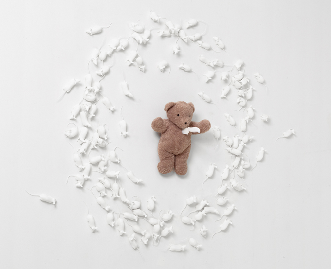 Hovnanian, Rachel Lee_ Poor Teddy_2014_Nylon, oil, teddy bear, knife, silicone_Dimensions variable_(View #1).jpg